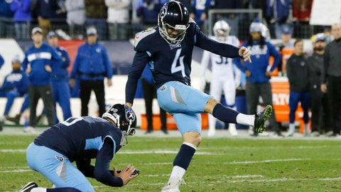 <p>               FILE - In this Sunday, Dec. 30, 2018 file photo, Tennessee Titans kicker Ryan Succop (4) kicks a 38-yard field goal against the Indianapolis Colts in the first half of an NFL football game in Nashville, Tenn. The Titans already have missed eight field goals through 10 games, matching their worst seasons of 2001 and 2004. It's why they rank dead last in the NFL converting just 46.7 percent (7 of 15).(AP Photo/James Kenney, File)             </p>