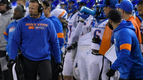 <p>               Boise State coach Bryan Harsin watches the team play Utah State during the first half of an NCAA college football game Saturday, Nov. 23, 2019, in Logan, Utah. (AP Photo/Eli Lucero)             </p>