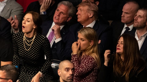 <p>               President Donald Trump and House Minority Leader Kevin McCarthy, of California, look on during UFC 244 at Madison Square Garden, Saturday, Nov. 2, 2019, in New York. (AP Photo/ Evan Vucci)             </p>