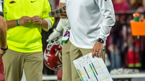 <p>               Arkansas head coach Chad Morris asks about a penalty against Alabama during the second half of an NCAA college football game, Saturday, Oct. 26, 2019, in Tuscaloosa, Ala. (AP Photo/Vasha Hunt)             </p>