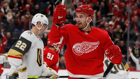 <p>               Detroit Red Wings left wing Brendan Perlini reacts after a goal by teammate center Andreas Athanasiou during the first period of an NHL hockey game against the Vegas Golden Knights, Sunday, Nov. 10, 2019, in Detroit. (AP Photo/Carlos Osorio)             </p>
