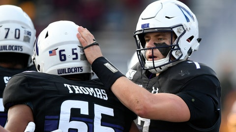 <p>               Northwestern quarterback Andrew Marty (7) celebrates with teammate Jared Thomas (65) after rushing for a touchdown during the second half of an NCAA football game against Minnesota Saturday, Nov. 23, 2019, in Evanston, Ill. Minnesota won 38-22. (AP Photo/Paul Beaty)             </p>