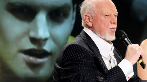 """<p>               FILE _ In this March 24, 2010, file photo, hockey personality Don Cherry, right, speaks during a news conference as actor Jared Keeso is displayed on a video screen while playing Cherry in the bio film """"Keep Your Head Up Kid: The Don Cherry Story"""" in Toronto. Sportsnet cut ties with Cherry on Monday, Nov. 11, 2019, after the veteran hockey commentator called new immigrants """"you people"""" on his """"Coach's Corner"""" segment while claiming they do not wear poppies to honor Canadian veterans. (AP Photo/The Canadian Press, Darren Calabrese, File)             </p>"""