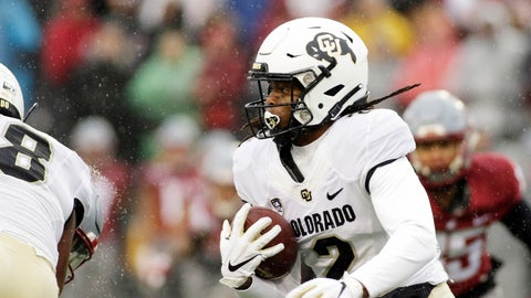 <p>               Colorado wide receiver Laviska Shenault Jr. (2) runs with the ball during the first half of an NCAA college football game against Washington State in Pullman, Wash., Saturday, Oct. 19, 2019. (AP Photo/Young Kwak)             </p>