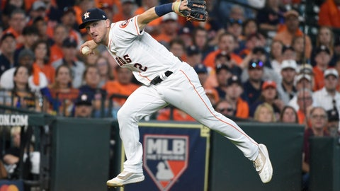 <p>               FILE  - In this Oct. 4, 2019, file photo, Houston Astros third baseman Alex Bregman looks to first after fielding a grounder by Tampa Bay Rays' Tommy Pham, who was safe at first in the seventh inning during Game 1 of a baseball American League Division Series in Houston. If Bregman is the American League's Most Valuable Player when the voting is announced Thursday, Nov. 14, the Astros will become the first team to have an MVP, Cy Young Award winner and Rookie of the Year in the same season. Justin Verlander took Cy Young honors, and Yordan Alvarez was picked as the AL's top rookie. AP Photo/Eric Christian Smith, File)             </p>