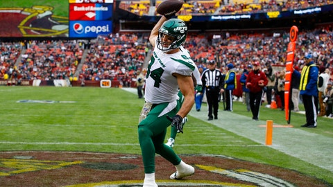 <p>               FILE - In this Sunday, Nov. 17, 2019 file photo, New York Jets tight end Ryan Griffin (84) celebrates his touchdown during the first half of an NFL football game against the Washington Redskins in Landover, Md. Ryan Griffin has been so sure-handed lately for the New York Jets that he ended up on a T-shirt. Griffin had five catches for 109 yards — the first 100-yard game of his seven-season career — and a touchdown at Washington. He has 25 receptions for 269 yards and career-high four TDs while becoming reliable target for Darnold in the absence of the injured Chris Herndon. (AP Photo/Patrick Semansky, File)             </p>