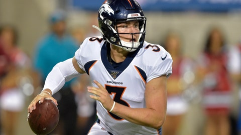 <p>               FILE - In this Aug. 1, 2019, file photo, Denver Broncos quarterback Drew Lock scrambles during the second half of the Pro Football Hall of Fame NFL preseason game against the Atlanta Falcons in Canton, Ohio. The Broncos are increasing rookie quarterback Drew Lock's workload at practice this week to determine if he should get his first NFL start against the Chargers this weekend. (AP Photo/David Richard, File)             </p>