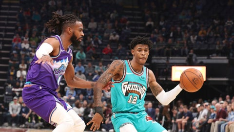 <p>               Memphis Grizzlies guard Ja Morant looks to pass as Utah Jazz guard Mike Conley (10) defends in the first half of an NBA basketball game Friday, Nov. 29, 2019, in Memphis, Tenn. (AP Photo/Karen Pulfer Focht)             </p>