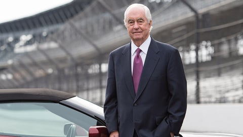 INDIANAPOLIS, IN - NOVEMBER 04: Roger Penske, Chairman and Founder of Penske Corporation on the Yard of Bricks following a press conference to announce the sale of Hulman & Company and subsidiaries the Indianapolis Motor Speedway, NTT IndyCar Series and IMS Productions to Penske Entertainment Corporation on November 4, 2019 at the Indianapolis Motor Speedway in Indianapolis, IN (Photo by James Black/Icon Sportswire via Getty Images)