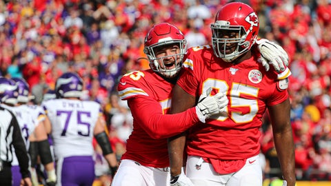 Nov 3, 2019; Kansas City, MO, USA; Kansas City Chiefs defensive end Chris Jones(95) is congratulated by defensive tackle Joey Ivie (93) after a sack against the Minnesota Vikings during the first half at Arrowhead Stadium. Mandatory Credit: Jay Biggerstaff-USA TODAY Sports
