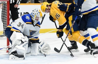 Blues snag a point but fall to Preds 3-2 in shootout