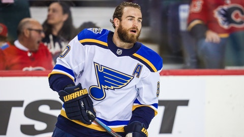 St. Louis Blues center Ryan O'Reilly (90) skates during the warmup period against the Calgary Flames at Scotiabank Saddledome.