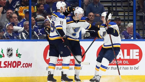 Nov 27, 2019; Tampa, FL, USA; St. Louis Blues center Oskar Sundqvist (70) is congratulated  as he scores  his second goal of the night against the Tampa Bay Lightning during the second period at Amalie Arena. Mandatory Credit: Kim Klement-USA TODAY Sports