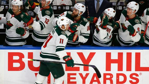 Minnesota Wild forward Zach Parise (11) celebrates his goal during the first period of an NHL hockey game against the Buffalo Sabres on Tuesday, Nov. 19, 2019, in Buffalo, N.Y. (AP Photo/Jeffrey T. Barnes)