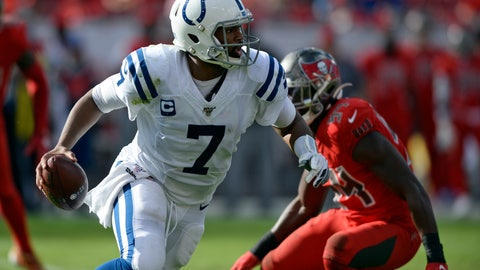<p>               Indianapolis Colts quarterback Jacoby Brissett (7) runs away from Tampa Bay Buccaneers outside linebacker Lavonte David (54) during the second half of an NFL football game Sunday, Dec. 8, 2019, in Tampa, Fla. (AP Photo/Jason Behnken)             </p>