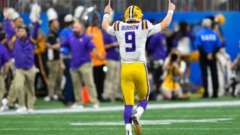 <p>               LSU quarterback Joe Burrow (9) celebrates a touchdown against Oklahoma during the first half of the Peach Bowl NCAA semifinal college football playoff game, Saturday, Dec. 28, 2019, in Atlanta. (AP Photo/John Amis)             </p>