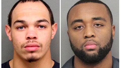<p>               These Tuesday Dec. 10, 2019 arrest photos released by the Lincoln, Neb., Police Dept, show Andre Hunt, left, and Katerian LeGrone. The two former Nebraska football players were arrested Tuesday, Dec. 10. 2019, after a reported off-campus sexual assault in Lincoln, Neb. LeGrone was arrested on suspicion of first-degree sexual assault, and Hunt was charged with aiding and abetting first-degree sexual assault. The charges stem from a reported assault on Aug. 25. (Lincoln Police Department via AP)             </p>