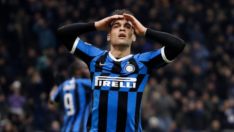<p>               Inter Milan's Lautaro Martinez reacts after his goal was disallowed for offside during the Champions League, group F soccer match between Inter Milan and F.C. Barcelona, at the San Siro stadium in Milan, Italy, Tuesday, Dec. 10, 2019. (AP Photo/Luca Bruno)             </p>
