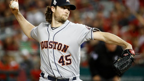 <p>               FILE - In this Oct. 27, 2019, file photo, Houston Astros starting pitcher Gerrit Cole throws against the Washington Nationals during the first inning of Game 5 of the baseball World Series in Washington. Gerrit Cole, the top pitcher on the free-agent market, was to meet with New York Yankees officials in California on Tuesday, Dec. 3, 2019. General manager Brian Cashman, manager Aaron Boone and new Yankees pitching coach Matt Blake made the trip to speak with the 29-year-old right-hander, a person familiar with the planning said. The person spoke to The Associated Press on condition of anonymity because the meeting was not announced.(AP Photo/Patrick Semansky, File)             </p>