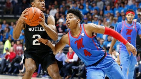 <p>               Butler guard Aaron Thompson (2) looks for a shot while Mississippi guard Breein Tyree (4) attempts to steal the ball during the second half of an NCAA college basketball game in Oxford, Miss., Tuesday, Dec. 3, 2019. Butler won 67-58. (AP Photo/Rogelio V. Solis)             </p>
