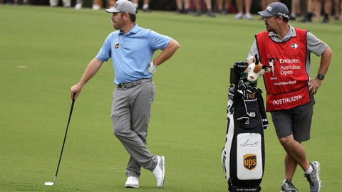 <p>               South Africa's Louis Oosthuizen, left, waits to play his second shot on the 6th hole during the second round of the Australian Open golf tournament in Sydney, Friday, Dec. 6, 2019. (AP Photo/Rick Rycroft)             </p>