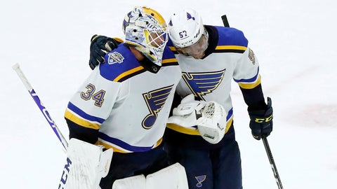 <p>               St. Louis Blues goaltender Jake Allen, left, and David Perron celebrate their win over the Chicago Blackhawks in an NHL hockey game Monday, Dec. 2, 2019, in Chicago. (AP Photo/Charles Rex Arbogast)             </p>