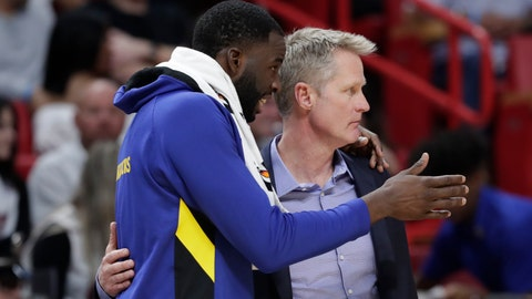 <p>               Golden State Warriors forward Draymond Green, left, talks with head coach Steve Kerr during the second half of an NBA basketball game against the Miami Heat, Friday, Nov. 29, 2019, in Miami. (AP Photo/Lynne Sladky)             </p>