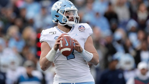 <p>               North Carolina quarterback Sam Howell looks to pass against Temple during the first half of the Military Bowl NCAA college football game, Friday, Dec. 27, 2019, in Annapolis, Md. (AP Photo/Julio Cortez)             </p>