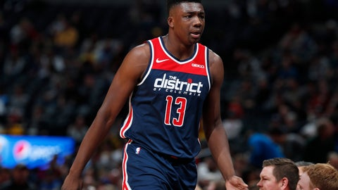 <p>               Washington Wizards center Thomas Bryant heads to the bench after drawing two quick fouls against the Denver Nuggets in the first half of an NBA basketball game Tuesday, Nov. 26, 2019, in Denver. (AP Photo/David Zalubowski)             </p>