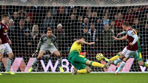<p>               Aston Villa's Conor Hourihane, right, scores his side's first goal of the game during their English Premier League soccer match against Norwich City at Villa Park, Birmingham, England, Thursday, Dec. 26, 2019. (Nick Potts/PA via AP)             </p>