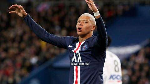 <p>               PSG's Kylian Mbappe celebrates after scoring his side's opening goal during the League One soccer match between Paris Saint Germain and Amiens, at the Parc des Princes stadium in Paris, Saturday, Dec. 21, 2019. (AP Photo/Thibault Camus)             </p>