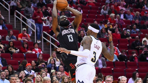 <p>               Houston Rockets guard James Harden (13) shoots as Denver Nuggets forward Torrey Craig defends during the second half of an NBA basketball game, Tuesday, Dec. 31, 2019, in Houston. (AP Photo/Eric Christian Smith)             </p>