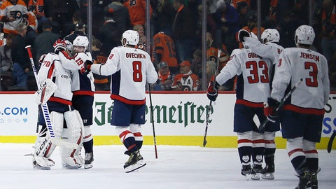 <p>               Washington Capitals' Braden Holtby (70) celebrates with Nicklas Backstrom (19) and Alex Ovechkin (8) after winning a shootout in an NHL hockey game against the Philadelphia Flyers, Wednesday, Nov. 13, 2019, in Philadelphia. Washington won 2-1. (AP Photo/Matt Slocum)             </p>