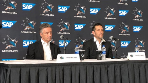 <p>               San Jose Sharks general manager Doug Wilson, left, and interim coach Bob Boughner listen to questions during a news conference Thursday, Dec. 12, 2019, in San Jose, Calif. The San Jose Sharks play their first game under interim coach Bob Boughner when they host the New York Rangers. Peter DeBoer was fired with the team on a five-game losing streak. He led the Sharks to their first Stanley Cup Final in his first season in 2016. (AP Photo/Josh Dubow)             </p>