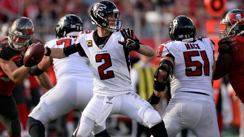 <p>               Atlanta Falcons quarterback Matt Ryan (2) throws a passagainst the Tampa Bay Buccaneers during the second half of an NFL football game Sunday, Dec. 29, 2019, in Tampa, Fla. (AP Photo/Jason Behnken)             </p>