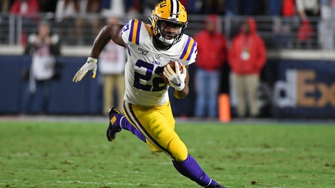 <p>               FILE - In this Nov. 16, 2019, file photo, LSU running back Clyde Edwards-Helaire (22) runs the ball during the first half of an NCAA college football game against Mississippi, in Oxford, Miss. Clyde Edwards-Helaire was one of three players from LSU's high-powered offense to earn unanimous first-team all-SEC honors when The Associated Press All-Southeastern Conference football team was announced Monday, Dec. 9, 2019. (AP Photo/Thomas Graning, File)             </p>