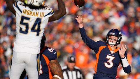 <p>               Denver Broncos quarterback Drew Lock passes under pressure form Los Angeles Chargers defensive end Melvin Ingram during the first half of an NFL football game Sunday, Dec. 1, 2019, in Denver. (AP Photo/Jack Dempsey)             </p>