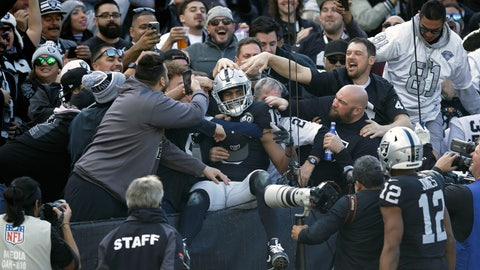 <p>               Oakland Raiders wide receiver Tyrell Williams is mobbed by fans after scoring a touchdown during the first half of an NFL football game against the Jacksonville Jaguars in Oakland, Calif., Sunday, Dec. 15, 2019. (AP Photo/Ben Margot)             </p>