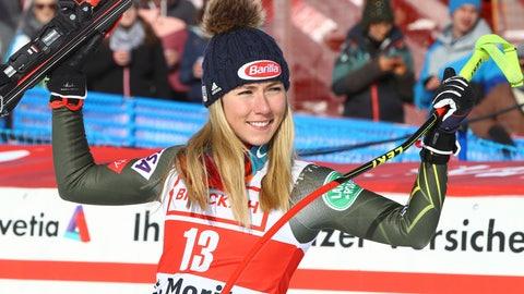 <p>               United States' Mikaela Shiffrin celebrates after taking third place in an alpine ski, women's World Cup super G in St. Moritz, Switzerland, Saturday, Dec. 14, 2019. (AP Photo/Alessandro Trovati)             </p>