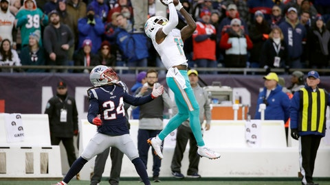 <p>               Miami Dolphins wide receiver DeVante Parker catches a pass over New England Patriots cornerback Stephon Gilmore in the second half of an NFL football game, Sunday, Dec. 29, 2019, in Foxborough, Mass. (AP Photo/Elise Amendola)             </p>