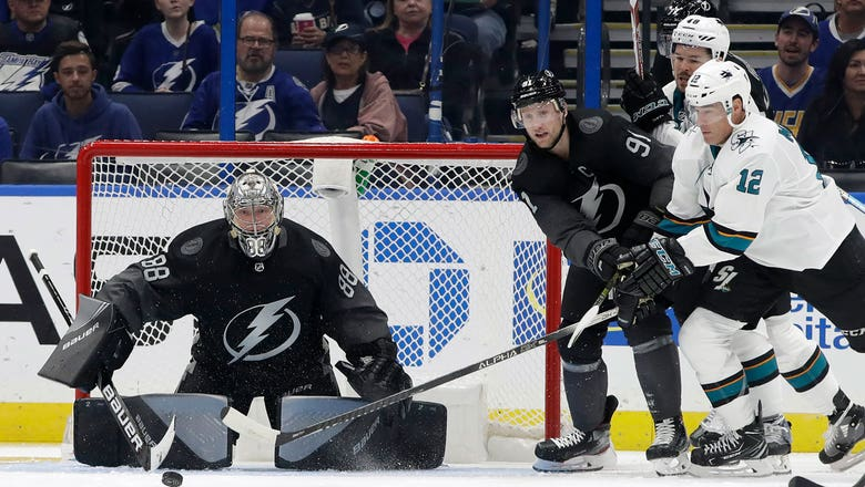 Andrei Vasilevskiy makes 37 saves, Lightning throttle Sharks 7-1