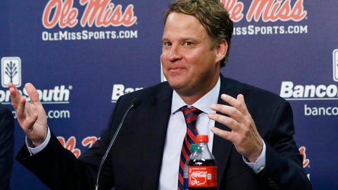 <p>               Lane Kiffin responds to reporters questions at a news conference, after being introduced to Mississippi fans as their new NCAA college football coach, at The Pavilion, a multipurpose arena on the campus in Oxford, Miss., Monday, Dec. 9, 2019. Kiffin was previously, the football coach for three years at Florida Atlantic. (AP Photo/Rogelio V. Solis)             </p>