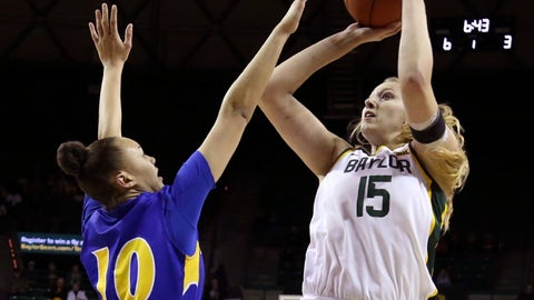 <p>               Baylor forward Lauren Cox, right, shoots over Morehead State forward Jaleesa Avery, left, in the first half of an NCAA college basketball game, Monday, Dec. 30, 2019, in Waco, Texas. (Rod Aydelotte/Waco Tribune Herald, via AP)             </p>