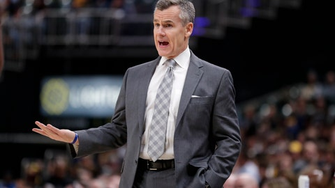 <p>               Oklahoma City Thunder coach Billy Donovan questions a call during the second half of the team's NBA basketball game against the Indiana Pacers in Indianapolis, Tuesday, Nov. 12, 2019. The Pacers won 111-85. (AP Photo/Michael Conroy)             </p>