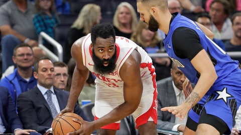 <p>               Houston Rockets' James Harden, left, looks for a way past Orlando Magic's Evan Fournier during the first half of an NBA basketball game, Friday, Dec. 13, 2019, in Orlando, Fla. (AP Photo/John Raoux)             </p>