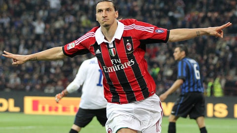 <p>               FILE - In this Sunday, May 6, 2012 filer, AC Milan forward Zlatan Ibrahimovic, of Sweden, celebrates after scoring during the Serie A soccer match between Inter Milan and AC MIlan at the San Siro stadium in Milan, Italy. Ibrahimovic will join AC Milan, the Milanese club announced Friday, Dec. 27, 2019 on its official twitter page. (AP Photo/Antonio Calanni, File)             </p>