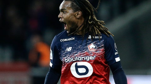 <p>               Lille's Renato Sanches reacts after scoring a penalty during the French League One soccer match between Lille and Montpellier at the Lille Metropole stadium, in Villeneuve d'Ascq, northern France, Friday, Dec. 13, 2019. (AP Photo/Michel Spingler)             </p>