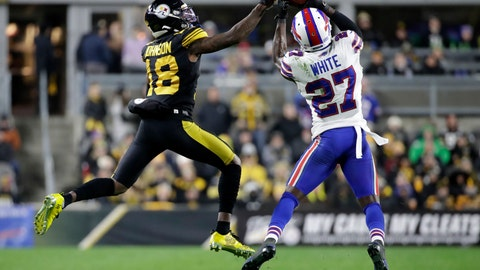 <p>               Buffalo Bills cornerback Tre'Davious White (27) intercepts a Pittsburgh Steelers quarterback Devlin Hodges pass intended for Diontae Johnson (18) during the second half of an NFL football game in Pittsburgh, Sunday, Dec. 15, 2019. (AP Photo/Don Wright)             </p>