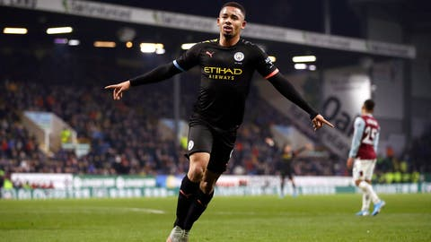 <p>               Manchester City's Gabriel Jesus, right, celebrates scoring his sides first goal of the game against Burnley, during their Premier League soccer match at Turf Moor in Burnley, England, Tuesday Dec. 3, 2019. (Martin Rickett/PA via AP)             </p>