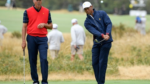 <p>               USA's Matt Kuchar, left and team captain Tiger Woods during a practice round ahead of the President's Cup golf tournament in Melbourne, Australia, Wednesday, Dec. 11, 2019. (AP Photo/Andy Brownbill)             </p>